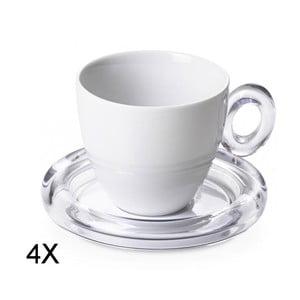 Komplet 4 filiżanek na herbatę, białe