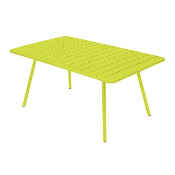 Limonkowy stół metalowy Fermob Luxembourg