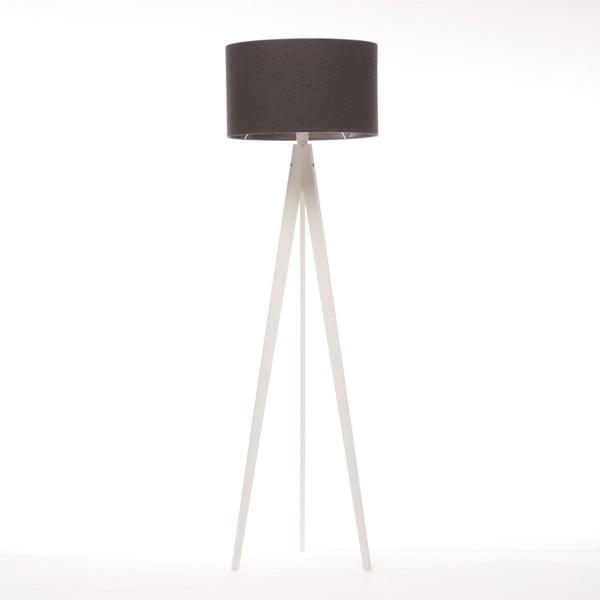 Czarna lampa stojąca 4room Artist, biała lakierowana brzoza, 150 cm