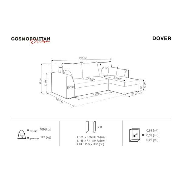 Beżowy narożnik rozkładany Cosmopolitan design Dover