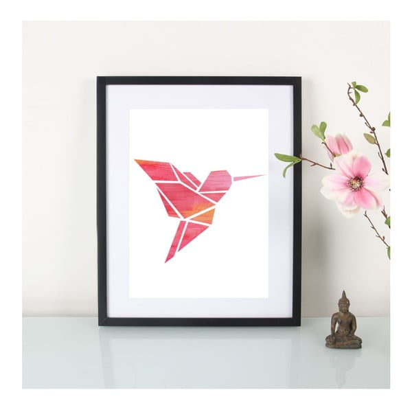 Plakat Origami Kolibri Pink, A3
