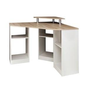 Brązowo-białe biurko narożne Symbiosis Nick