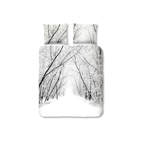 Biała pościel flanelowa Muller Textiel Forest, 200x200 cm