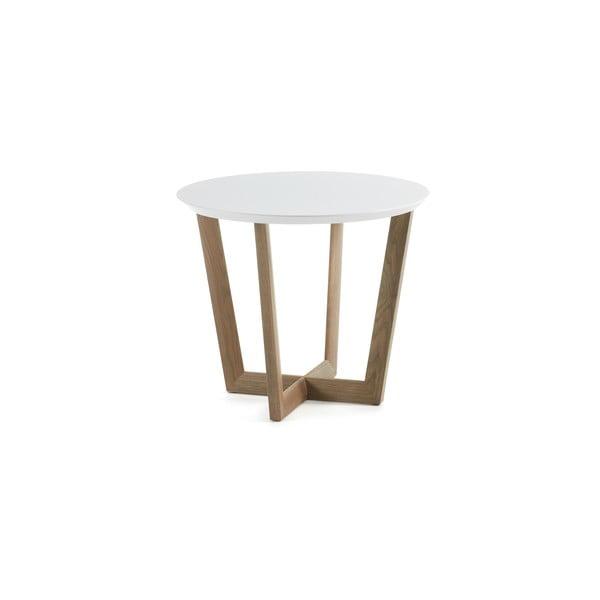 Stolik dębowy z białym blatem La Forma Rondo
