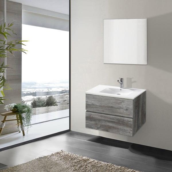 Szafka do łazienki z umywalką i lustrem Flopy, motyw vintage, 70 cm
