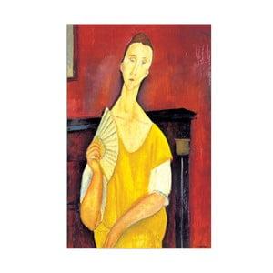 Obraz Amedeo Modigliani - Woman with a fan, 64x100 cm