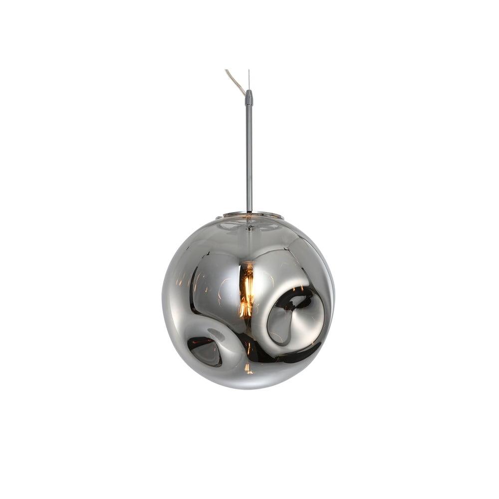 Lampa wisząca z dmuchanego szkła w srebrnym kolorze Leitmotiv Pendulum