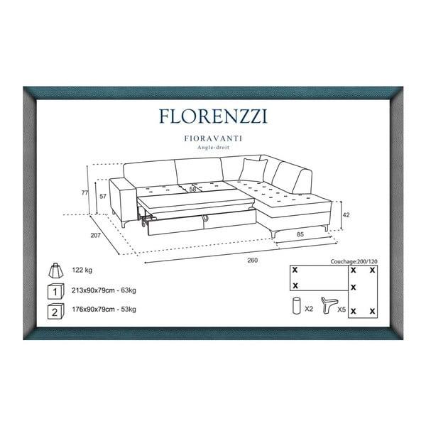 Narożnik rozkładany prawostronny Florenzzi Fioravanti Black