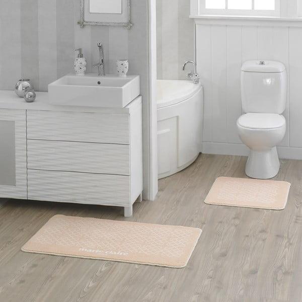 Zestaw 2 łososiowo-beżowych dywaników łazienkowych Milla