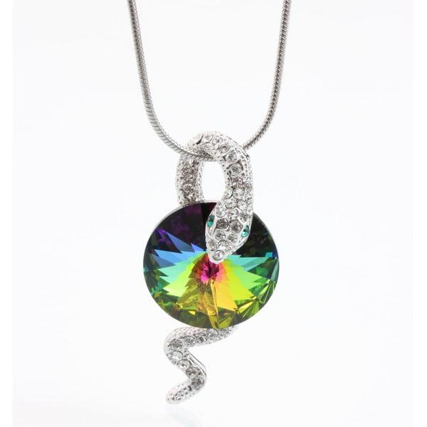 Naszyjnik z kryształami Swarovski Elements Laura Bruni Green Snake