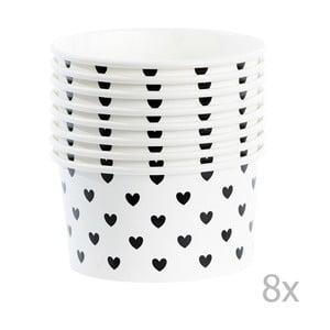Zestaw 8 kubeczków papierowych na lody z łyżeczkami Miss Étoile Black Hearts