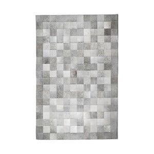 Szary dywan ze skóry bydlęcej Patchwork, 180x120 cm