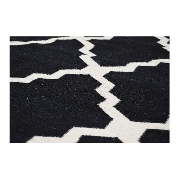 Dywan wełniany Kilim Jasmina Black, 160x230 cm