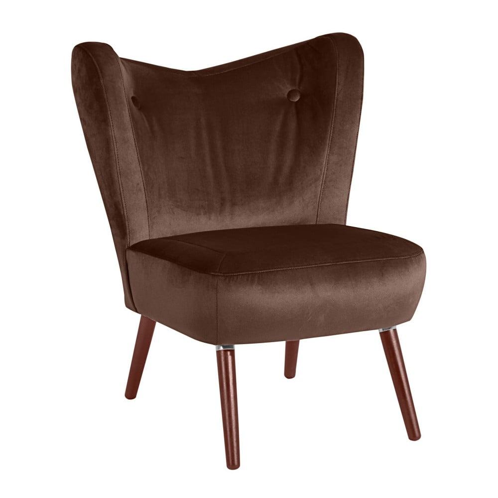 Ciemnobrązowy fotel Max Winzer Sari Velvet