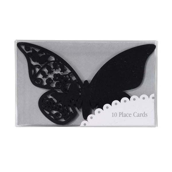 Komplet 10 znaczników/winietek Butterflies, czarny