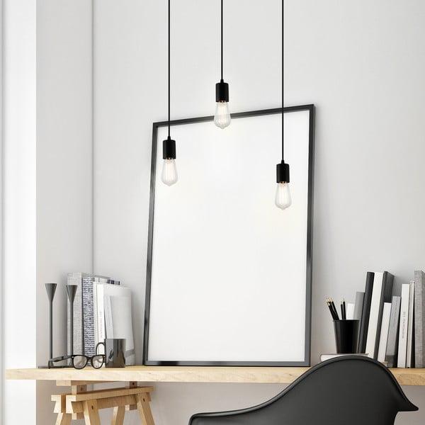 Czarna trzyramienna lampa wisząca Bulb Attack Cero
