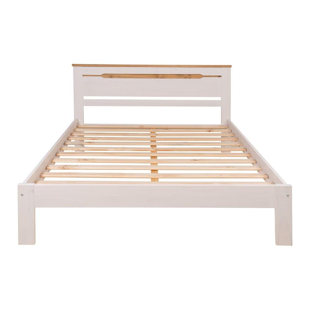 Biała rama łóżka 2-osobowego z drewna sosnowego Marckeric Elisa, 150x197,5 cm