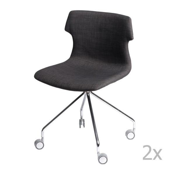 Zestaw 2 grafitowych tapicerowanych krzeseł D2 Techno Roll