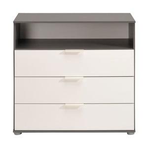 Szara komoda z 3 szufladami i białymi elementami Parisot Montier