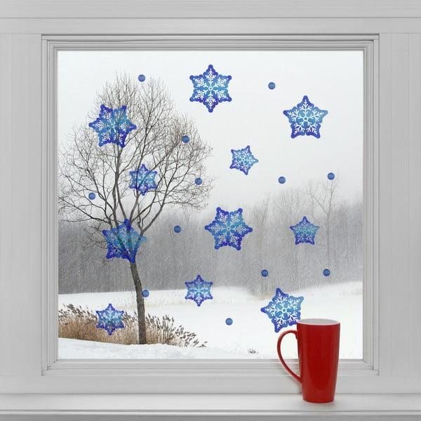 Elektrostatyczna naklejka Niebieskie śnieżynki