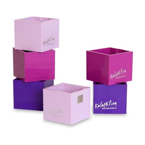 Zestaw 6 magnetycznych doniczek Cube Violet, mały