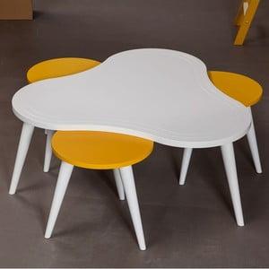 Stolik kawowy z krzesłami Bubble White