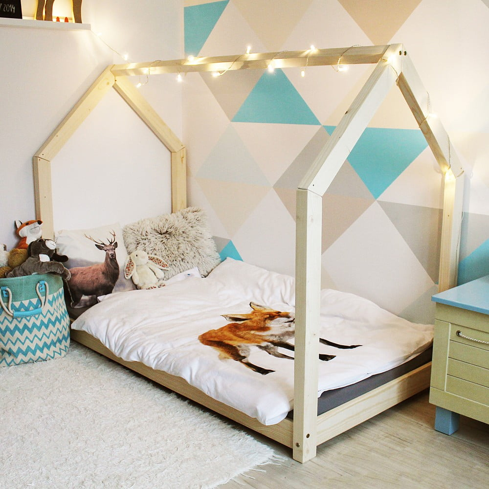 drewniane ko jednoosobowe w kszta cie domku benlemi tery 100x200 cm bonami. Black Bedroom Furniture Sets. Home Design Ideas
