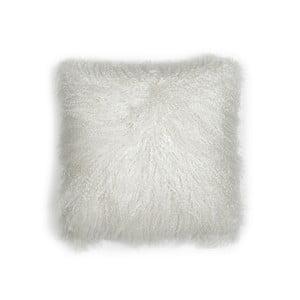 Biała  poduszka z wełny mongolskiej Moycor, 30x30cm