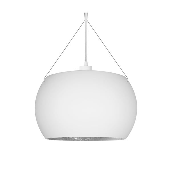 Biało-srebrna lampa wisząca z białym kablem Sotto Luce Momo