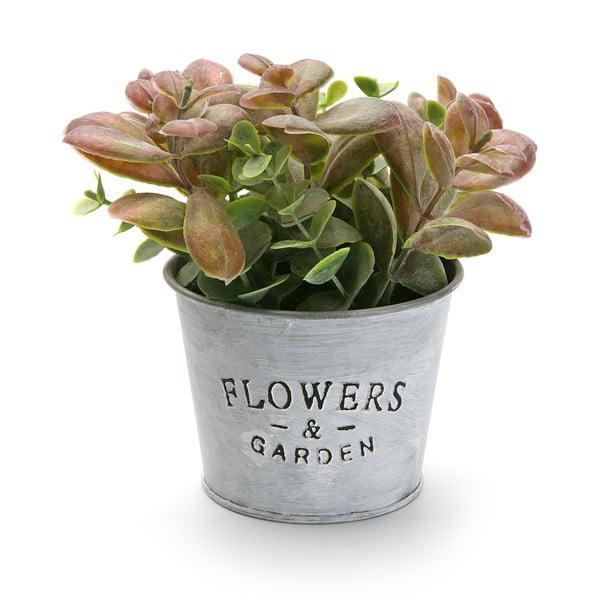 Metalowa doniczka ze sztucznym kwiatkiem Garden