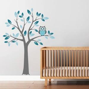 Naklejka Drzewo i niebieska sowa, 70x50 cm