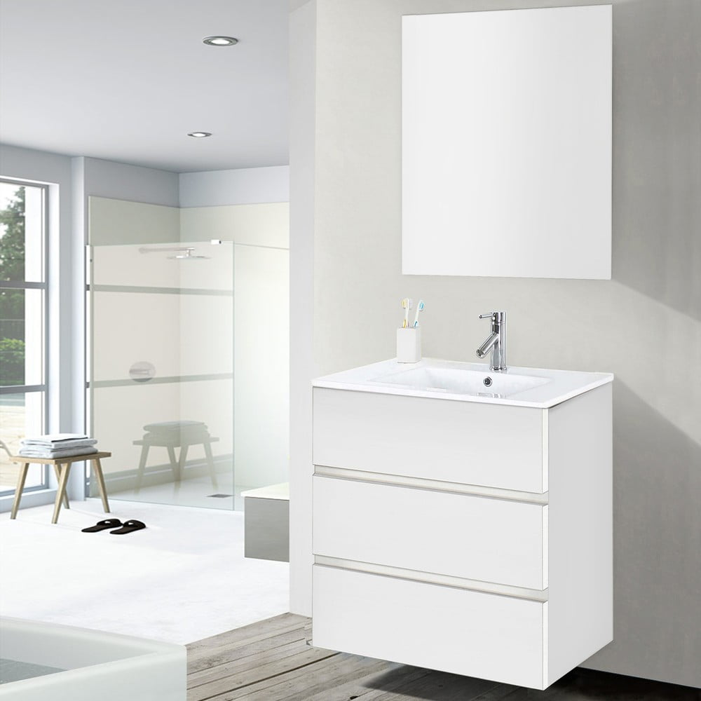 Szafka Do łazienki Z Umywalką I Lustrem Nayade Odcień Bieli 60 Cm Bonami