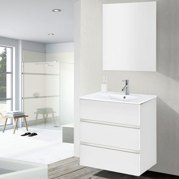 Szafka do łazienki z umywalką i lustrem Nayade, odcień bieli, 60 cm