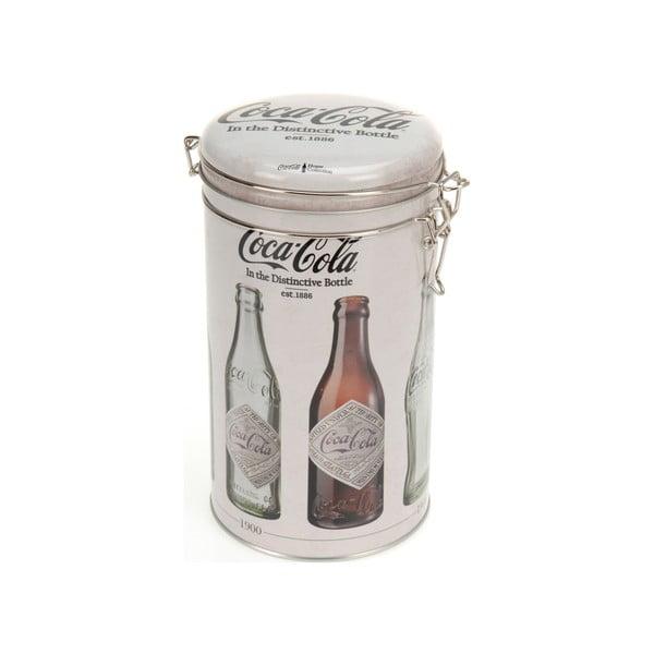 Okrągły pojemnik metalowy z zamknięciem Coke, 11x20 cm