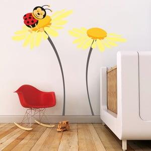 Naklejka ścienna Biedronka na kwiatku, żółta, 70x50 cm