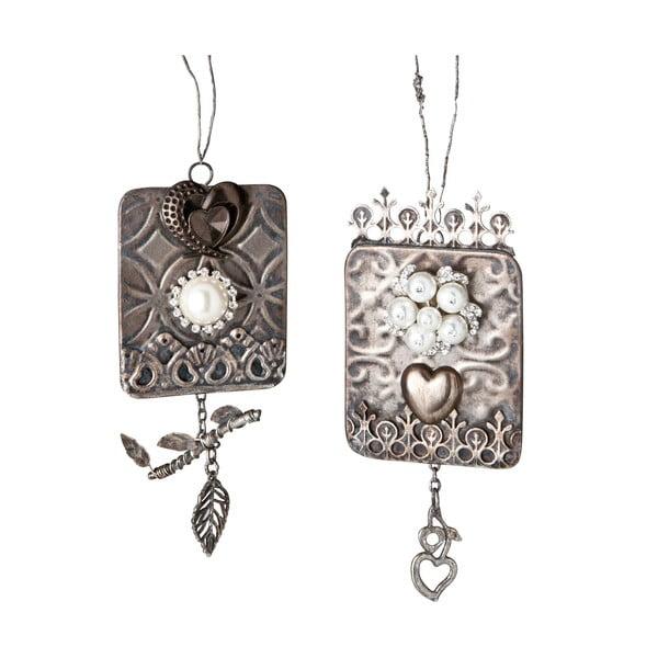 Zestaw 2 dekoracji wiszących Silver