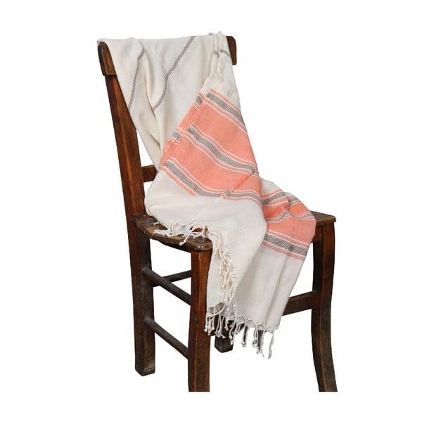Pomarańczowy ręcznik hammam Veronica Orange, 90x190cm