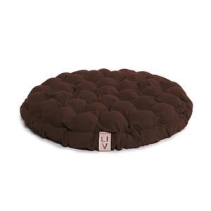 Ciemnobrązowa poduszka do siedzenia wypełniona piłeczkami do masażu Lindy Vrňáková Bloom, Ø 65 cm