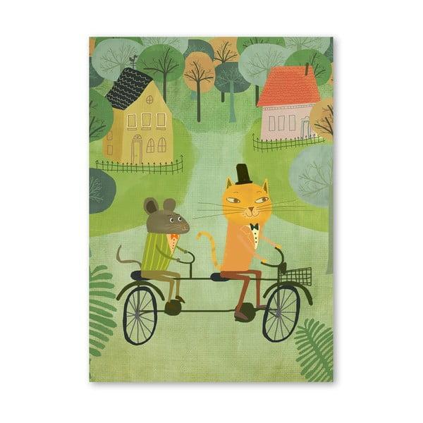 Plakat (projekt: Mia Charro) - Cat And Bicycle