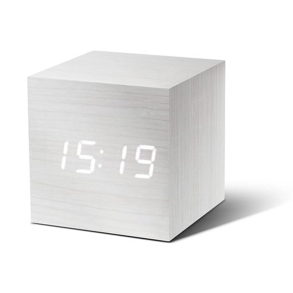 Biały budzik z białym wyświetlaczem LED Gingko Cube Click Clock