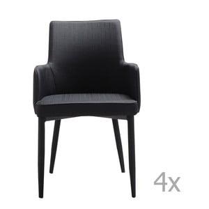 Zestaw 4 czarnych krzeseł 13Casa Karl
