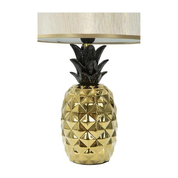 Biała lampa stołowa z konstrukcją w złotym kolorze Mauro Ferretti Ananas