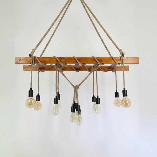 Lampa wisząca z litego drewna sosnowego Merdiven
