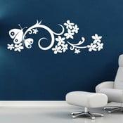 Naklejka ścienna Ornamenty i motyle, biel
