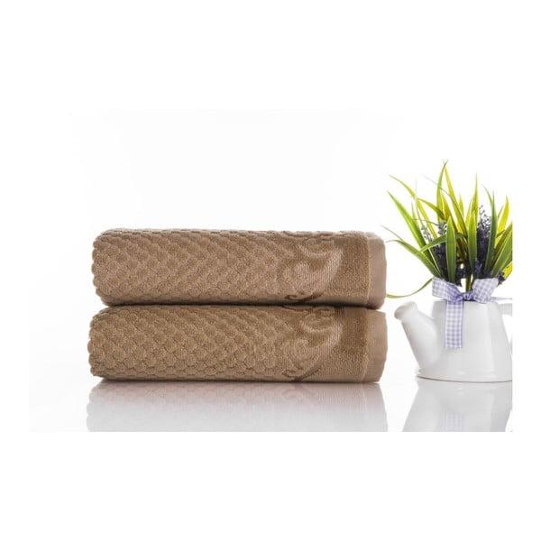 Zestaw 2 ręczników Acustic Light Brown, 50x90 cm