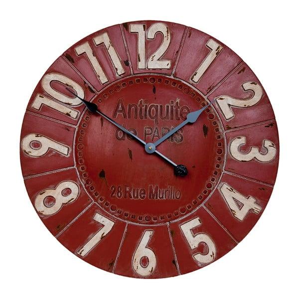 Czerwony zegar ścienny Clayre & Eef