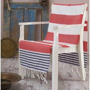 Czerwono-niebieski ręcznik Hammam Anayla, 100x180 cm
