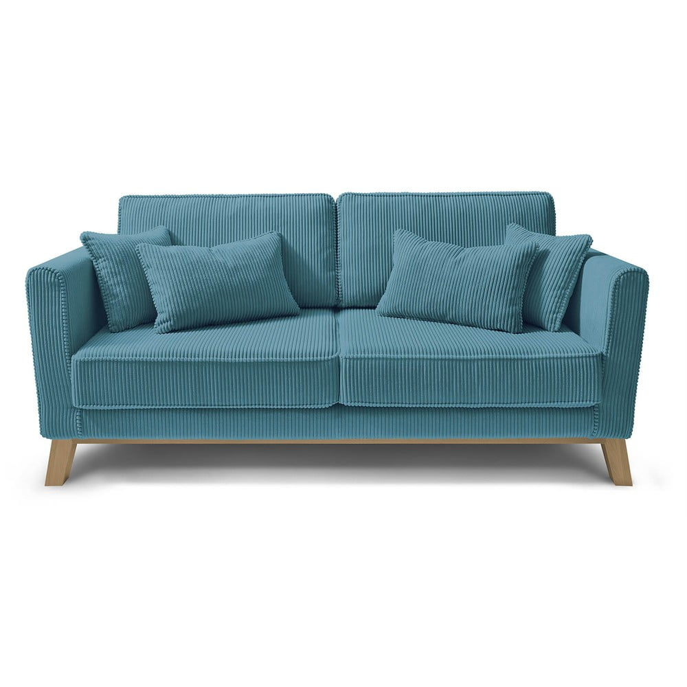 Turkusowa sztruksowa sofa Bobochic Paris DOBLO