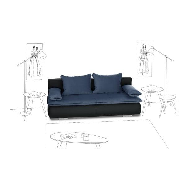 Sofa rozkładana Cachemire, czarna/niebieska