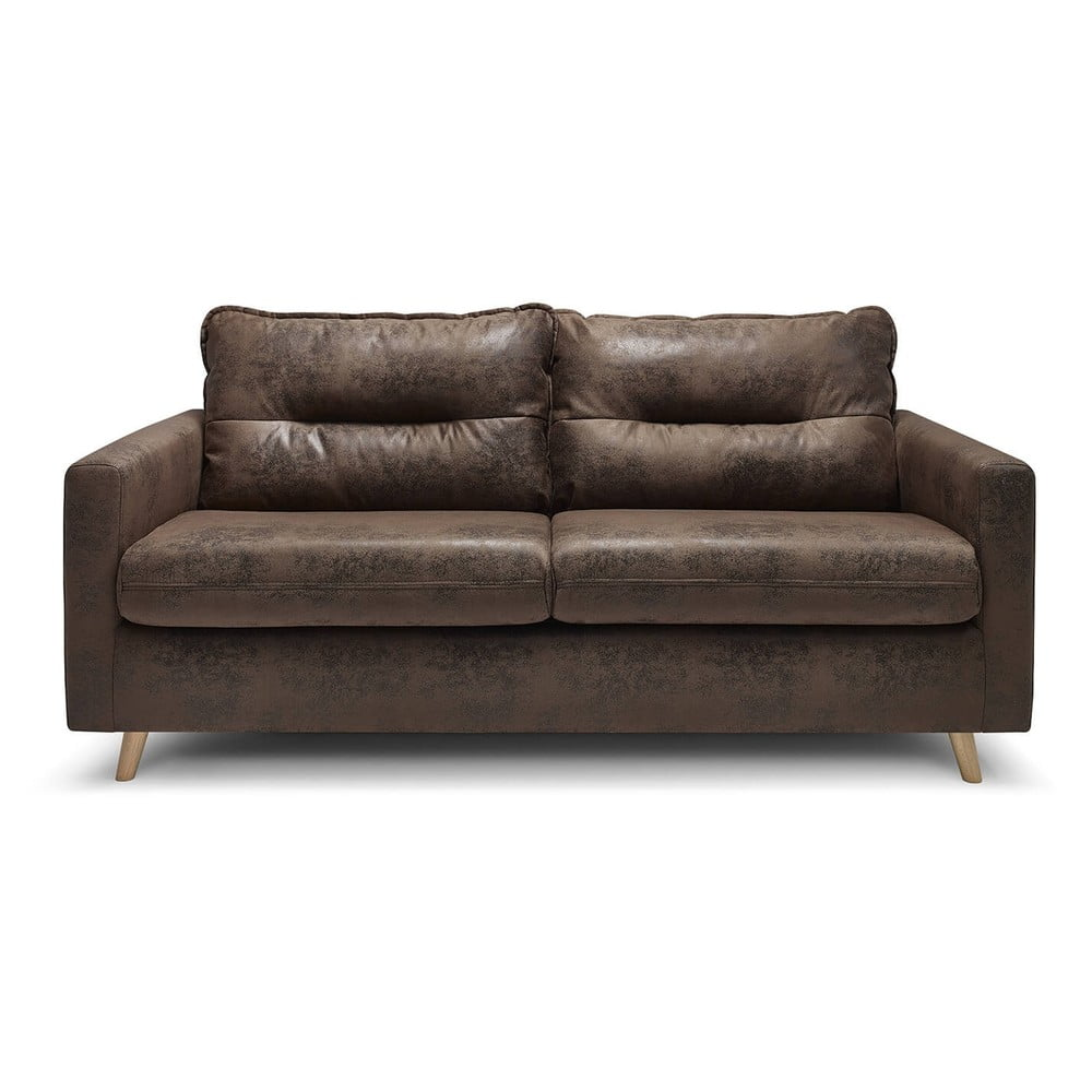 Czekoladowa rozkładana sofa ze sztucznej skóry Bobochic Paris Sinki Vintage